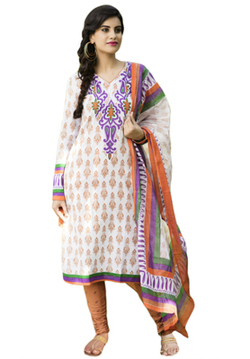 Orange and White and Voilet printed Cotton unstitched salwar with dupatta