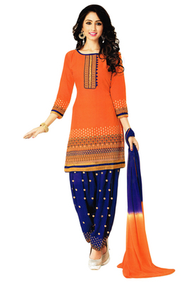 Orange and Blue embroidered Cotton unstitched salwar with dupatta