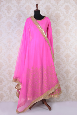 Hot pink raw silk embroidered graceful anarkali with round neck