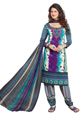 Voilet and Green and Off White printed Synthetic unstitched salwar with dupatta