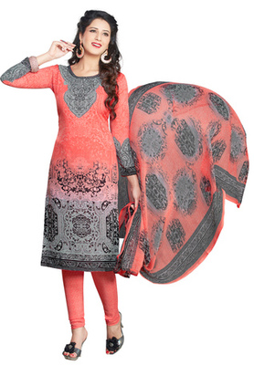 Peach and Grey and Black printed Synthetic unstitched salwar with dupatta