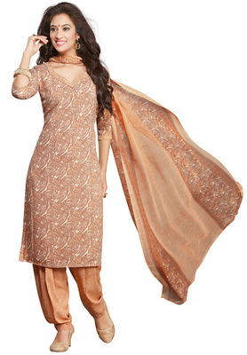 Beige and White printed Synthetic unstitched salwar with dupatta