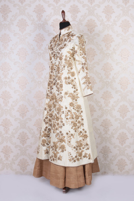 White and gold raw silk embroidered long jacket trendy anarkali