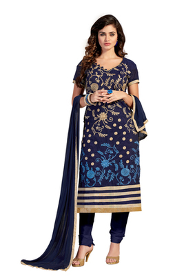 Dark Blue embroidered Chanderi unstitched salwar with dupatta