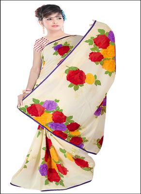 Cream printed rayon saree with blouse
