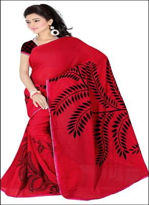 red printed rayon saree with blouse