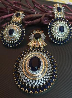 Royal blue american diamond pendant set