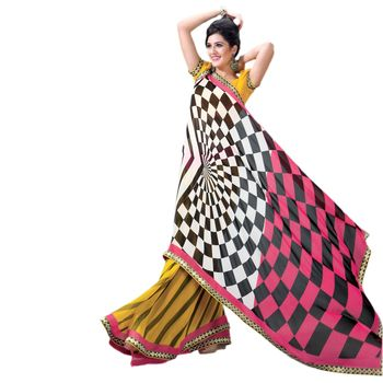 Hypnotex Georgette and patch border Yellow and Pink Color Designer Dress Material Lumia167B