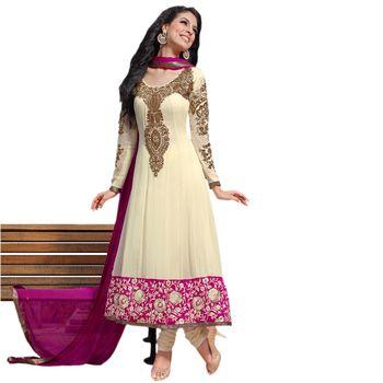 Hypnotex Pure Georgette Cream Color Designer Dress Material Shayari105
