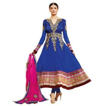 Hypnotex Georgette Navy Blue Color Designer Dress Material MegaCeleb203