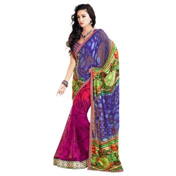 Sahiba Brasso Multi Color Color Designer Saree Chamcham410