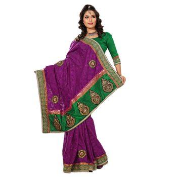 Hypnotex Viscose Net Jacquard Purple Color Designer Saree Richee319C