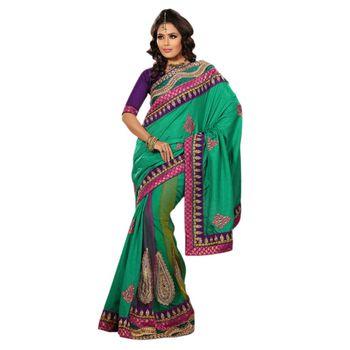 Hypnotex Manipuri Silk Heavy Taar and Patli Net Green Color Designer Saree Richee8240B