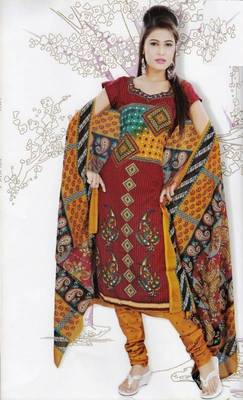 Elegant Dress Material Jute Cotton Designer Prints Unstitched Salwar Kameez Suit D.No 6205