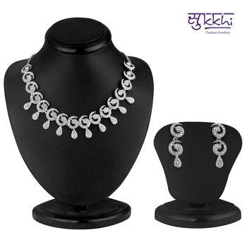 Sukkhi Glimmery Rhodium plated AD Stone Necklace Set