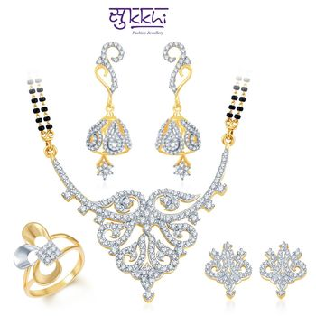Sukkhi Attractive Gold & Rhodium Plated CZ Combo