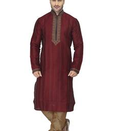 Buy fawn kurta set with all over lace work with cordered collar n near neck kurta-pajama online