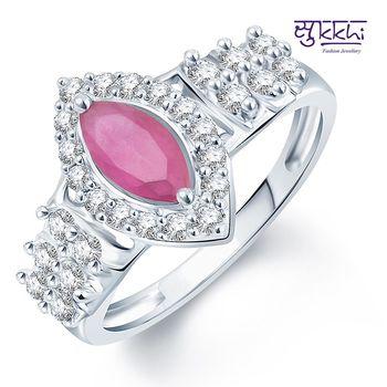 Sukkhi Pleasing Rhodium Plated CZ Ruby Ring