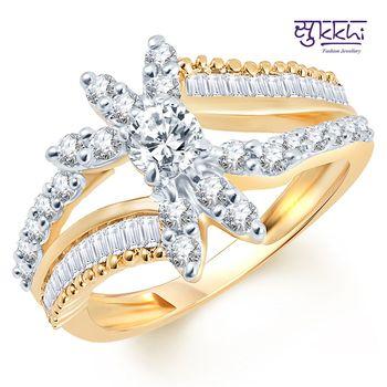 Sukkhi Briliant Two Tone CZ Studded Ring