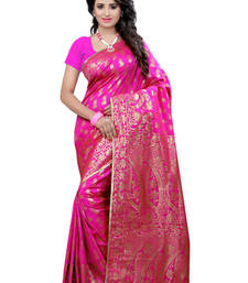 Buy Pink plain Banarasi  Silk saree with blouse traditional-saree online