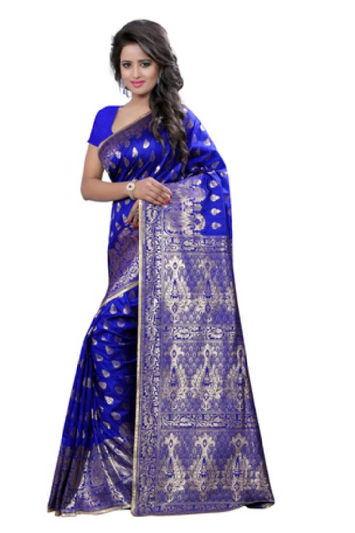 Buy Blue Plain Banarasi Silk Saree With Blouse Online