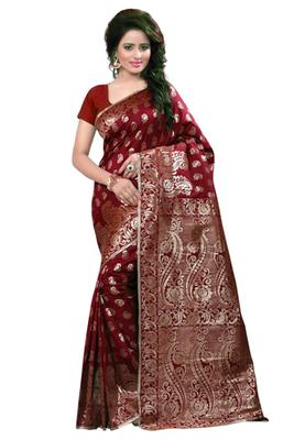 Maroon plain Banarasi Silk saree with blouse