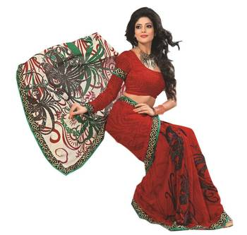 Bollywood Designer Weightless Georgette Saree With Elegant Border & Blouse Piece 4013A
