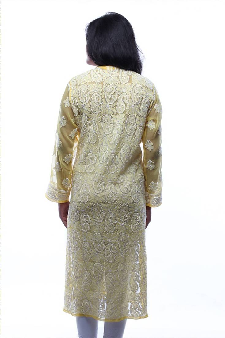 Buy Ada Hand Embroidery Lakhnavi Casual Large Yellow Faux Georgette Lucknow Chikankari
