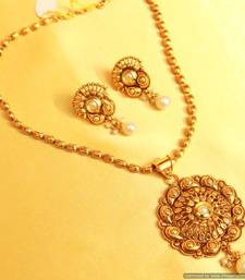 Buy Gold look Paisley Fine Pendant Set Pendant online
