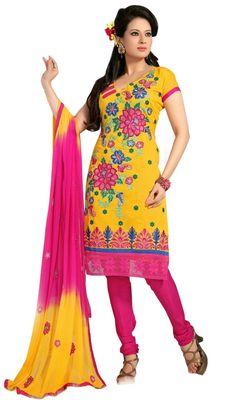 Triveni Yellow Chanderi Embroidered Salwar Kameez - TSMESK17603