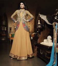 Buy Beige georgette embroidered semi stitched salwar with dupatta party-wear-salwar-kameez online