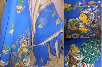 Blue hand woven chiffon kalamkari saree with blouse