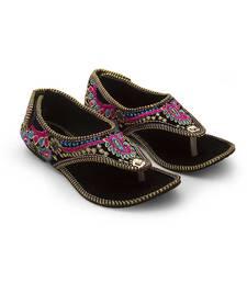 Buy multicolor Velvet wedding wear traditional footwear for women eid-footwear online