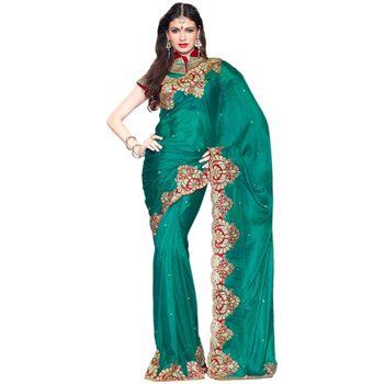 Hypnotex Pure Silk Green Color Designer Saree Visu27012