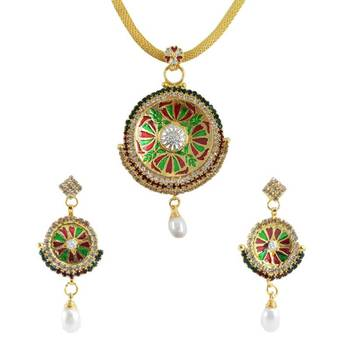 "AAKSHI Ethnic Jewellery Meenakari Red & Green Pearl Drop ""Chakhra of Karma"" Pendant Necklace with Matching Earrings"