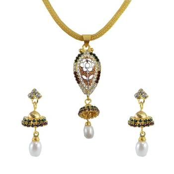 "AAKSHI Ethnic Jewellery ""Jhumka Ghira Re"" in Raindrop Shaped Red & Green Pearl Drop 3-piece Jewellery Set"