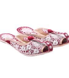 Buy Maroon floral designed mojari footwear online