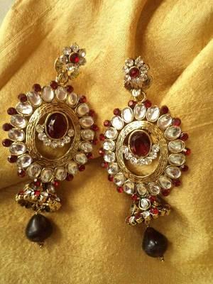 Long Kundan Earrings
