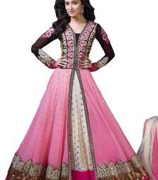 Buy Black and Pink Net embroidered semi stitched salwar with dupatta anarkali-salwar-kameez online