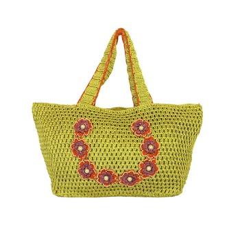 Outsized Crochet Shoulder Handbag   Mehendi Green