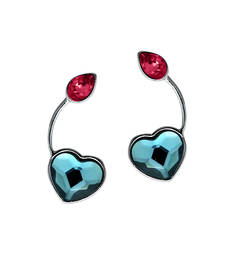 Buy Swarovski Elements Valentine Blue Pink Heart Drop Rhodium Plated Earrings for Women stud online