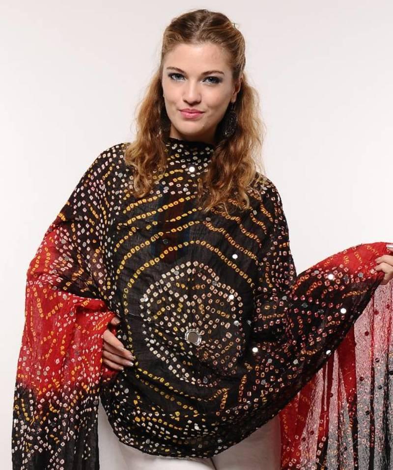 Buy Stunning Red Black Bandhej Stole Online