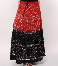 Buy Stunning Red Black Bandhej Skirt skirt online
