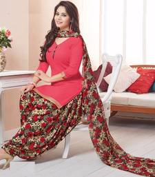 Buy Peach printed crepe unstitched salwar with dupatta punjabi-suit online