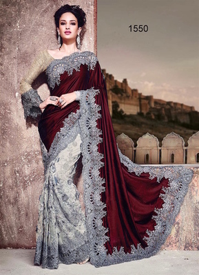 Maroon and off white grey plain velvet saree with blouse