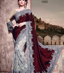 Buy Maroon and off white grey plain velvet saree with blouse bridal-saree online