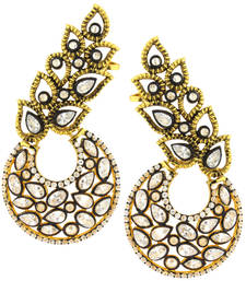 Buy Designer Flower Kundan Polki Gold Plated Chaand Bali Ear Cuff Earring for Women stud online