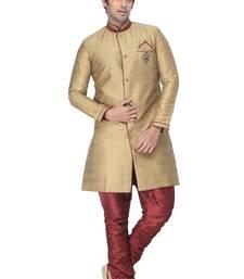 Buy beige indowestern kurta set with fancy buttons and broach men-festive-wear online