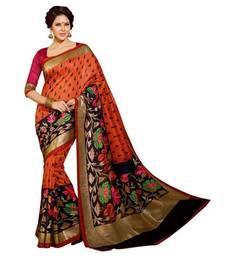 Buy Multicolor printed cotton saree with blouse bhagalpuri-silk-saree online