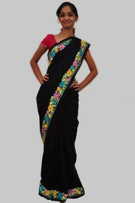 Black embroidered Faux chiffon Saree
